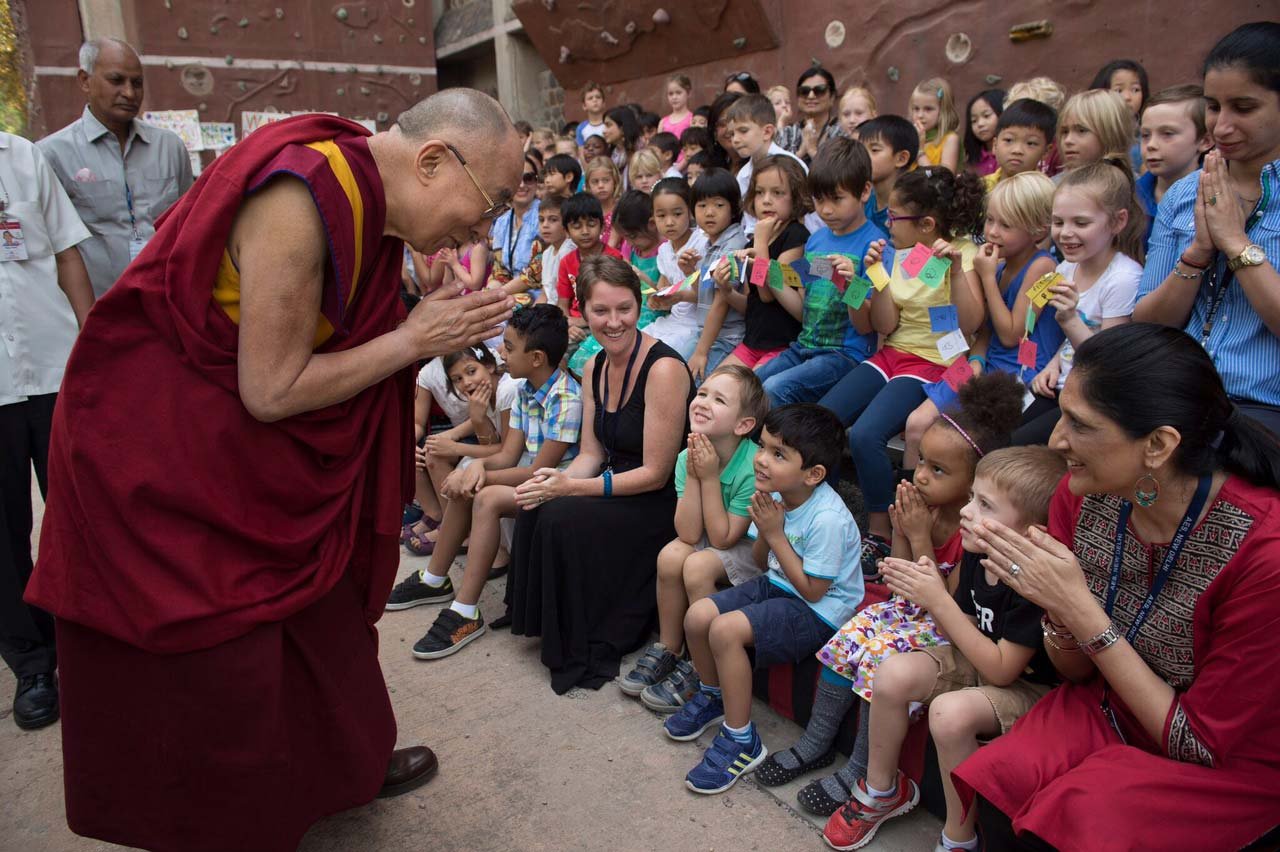 Dalai Lama with K-12 students