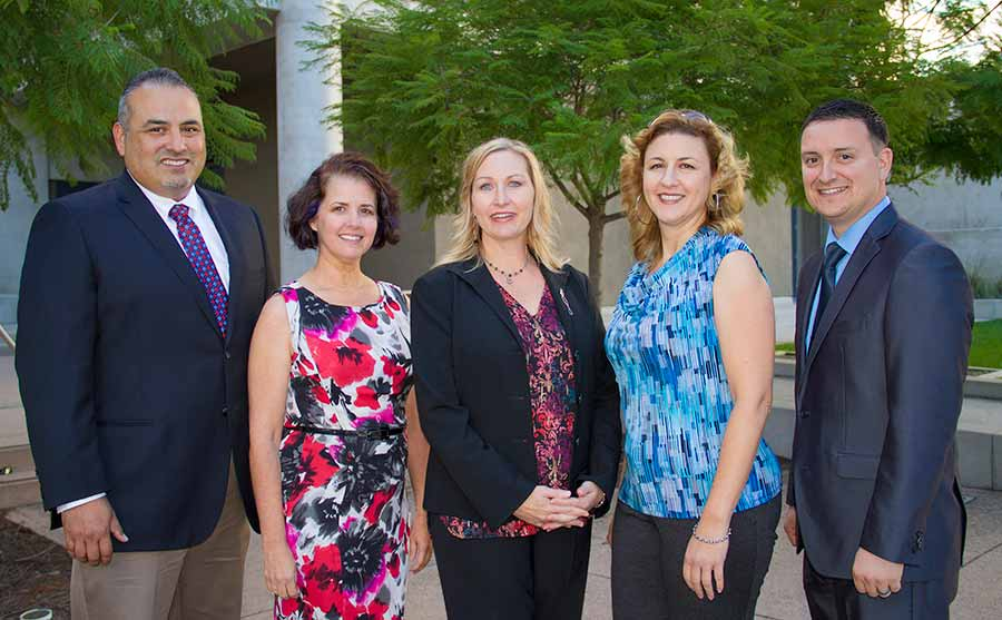 Image: Veterans Staff Association board members John Cerda, chair; Maria Dolores Beaupre; Jan Noz; Joanna Boval; and Ronnie McClean.