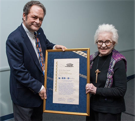 Joyce Cutler Shaw receiving Giesel Citation for Library Philanthropy