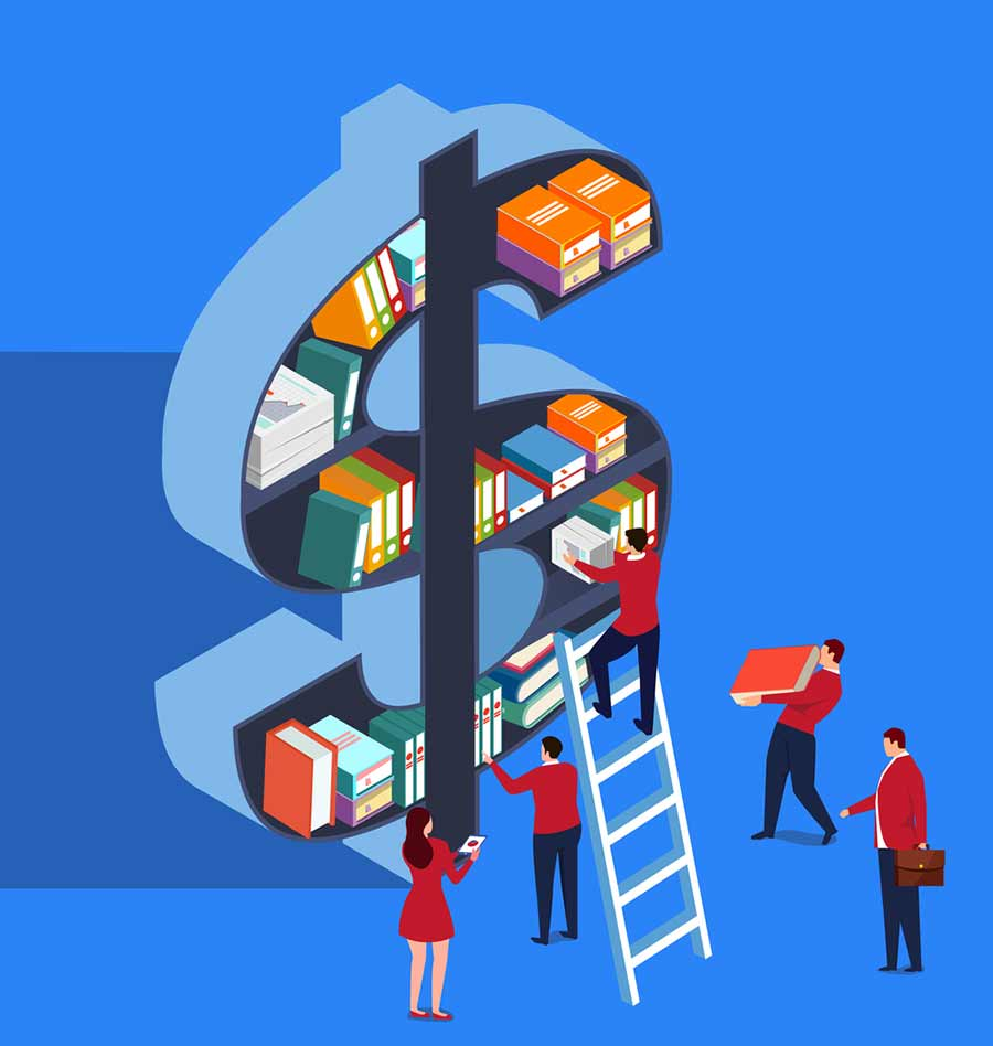 Book shelf in the shape of a dollar sign - illustration by iStock/z_wei