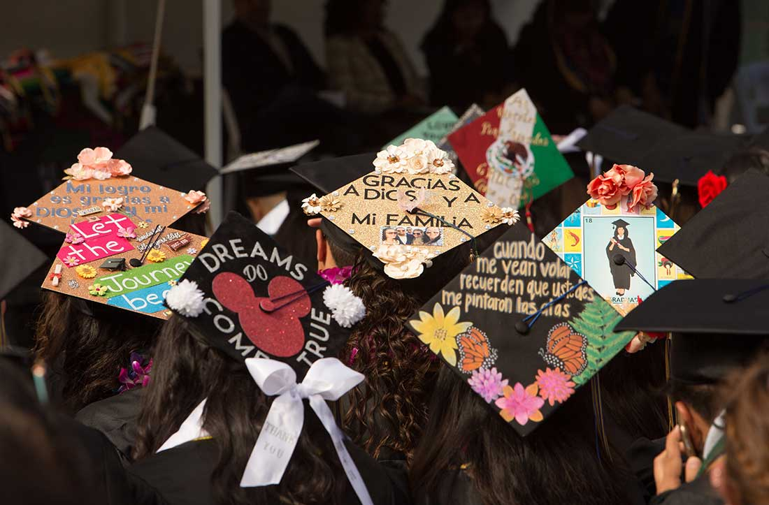 mortarboards at a past graduation.
