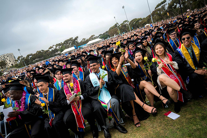 UC San Diego students at commencement in 2019