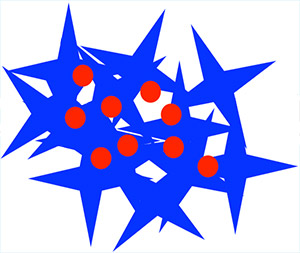 Image: Tumors secrete enzymes the slice open peptide coatings (blue) that help to safely deliver an anti-cancer drug (red).