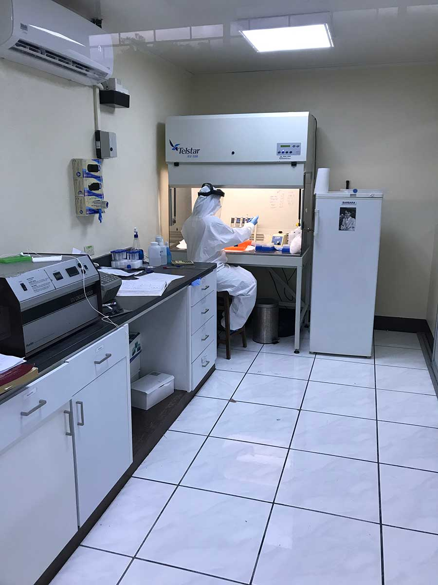 researcher in Nicaragua tests samples from health care workers.