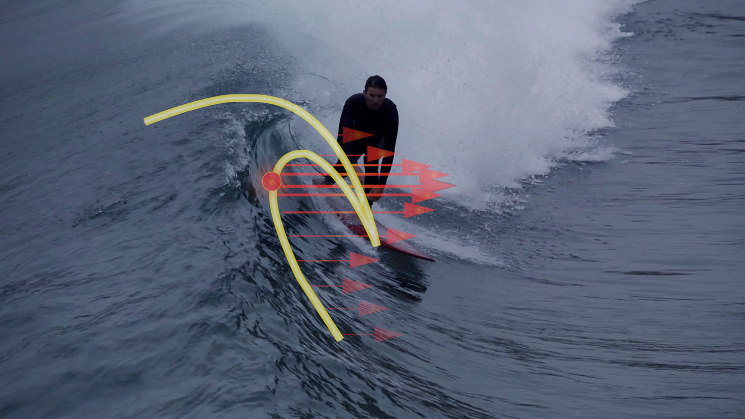 Image of Scripps physical Oceanographer Nick Pizzo surfing