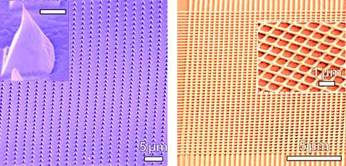 Photo: images of silver nanopyramids and silver fish net fabricated by laser shock imprinting.