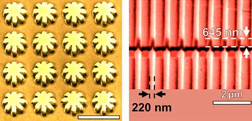 Photo: array of nanogears imporinted on cold-rolled aluminum foil and nanobars