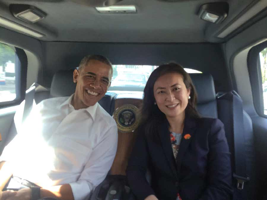 Elizabeth Phu and President Obama