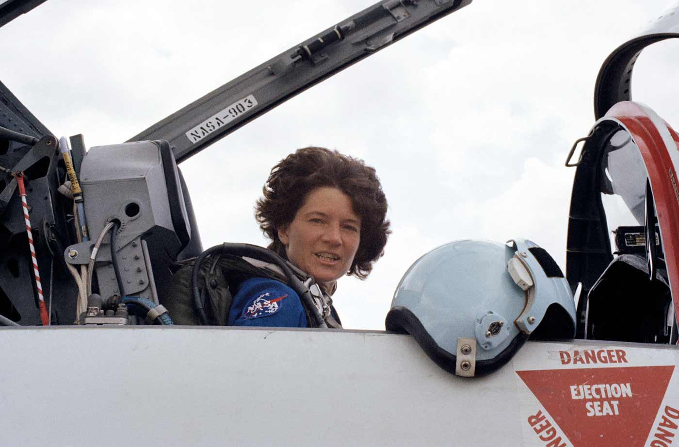 Sally in a T-38 jet to fly to NASA's Kennedy Space Center in Florida