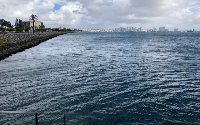 The San Diego coastline on a cloudy day. The bay is seen in the foreground with the city skyline and a bridge seen in the background.