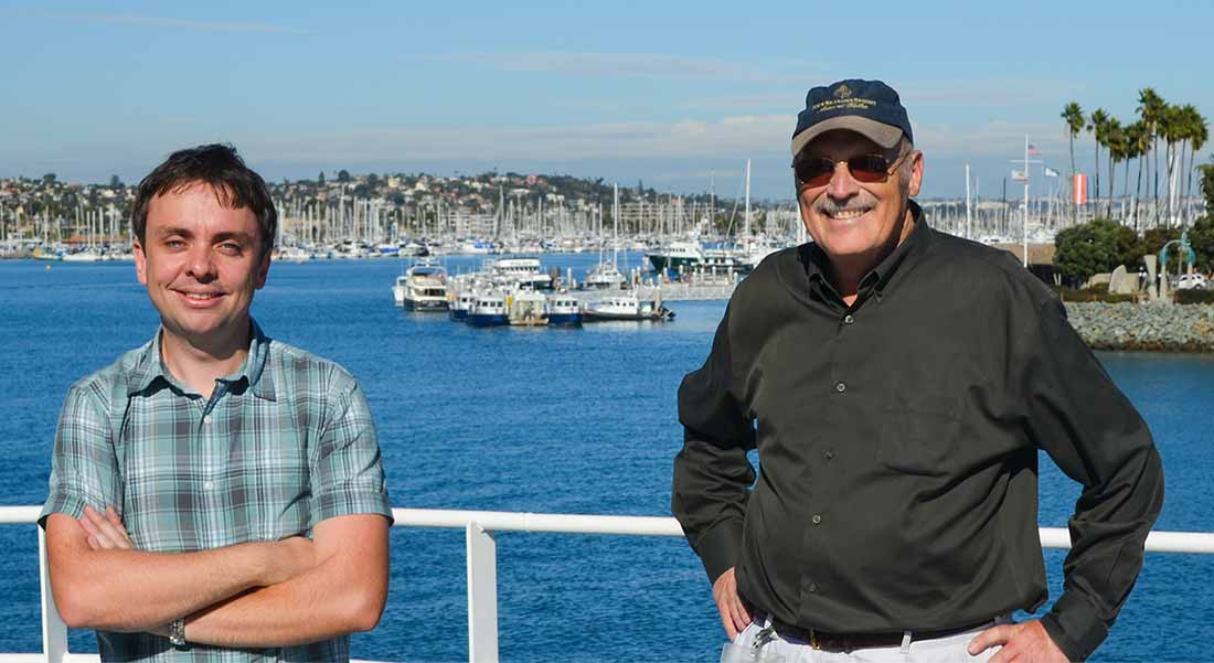 Image: Scripps physical oceanographers Luc Lenain (left) and Ken Melville