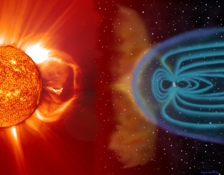 Graphic showing the effect of a major solar storm