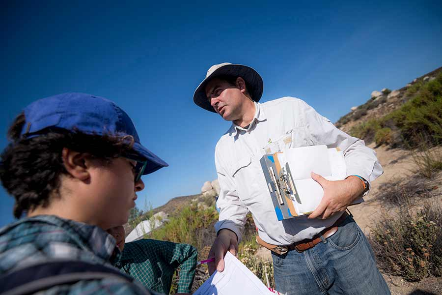 Paul Goldstein and student on Kumeyaay reservation at La Posta