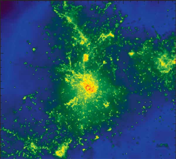 Image: Multiple spots in a simulated galaxy glow brightly at submillimeter wavelengths of light