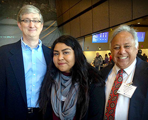 Image: Edward Felten, Deputy U.S. Chief Technology Officer with the White House of Office of Science & Technology Policy (left) with Sweetwater High School Student Karla Gonzales and Teacher Arthur Lopez
