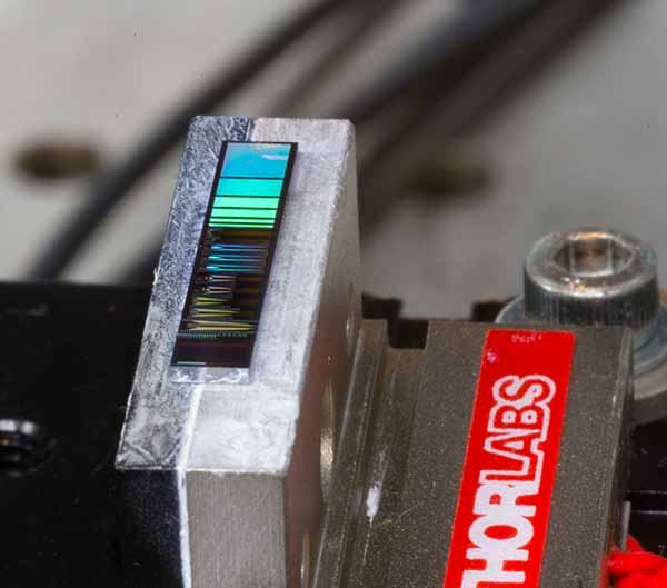 photo: silicon photonic chip was placed on a temperature-controlled stage