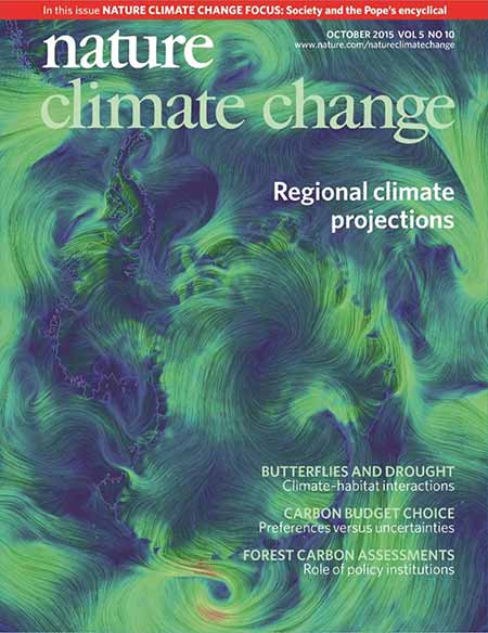 Image: the journal Nature Climate Change Oct 2015 cover