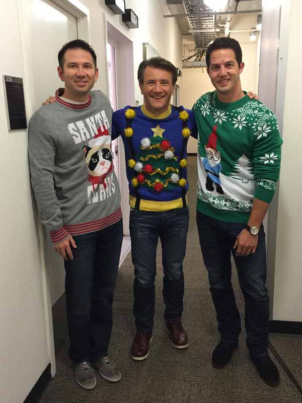 Image: Tipsy Elves founders Nicklaus Morton and Evan Mendelsohn with business partner Robert Herjavec of ABC's Shark Tank.