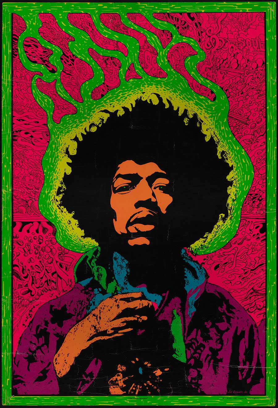 A poster of Jimi Hendrix.