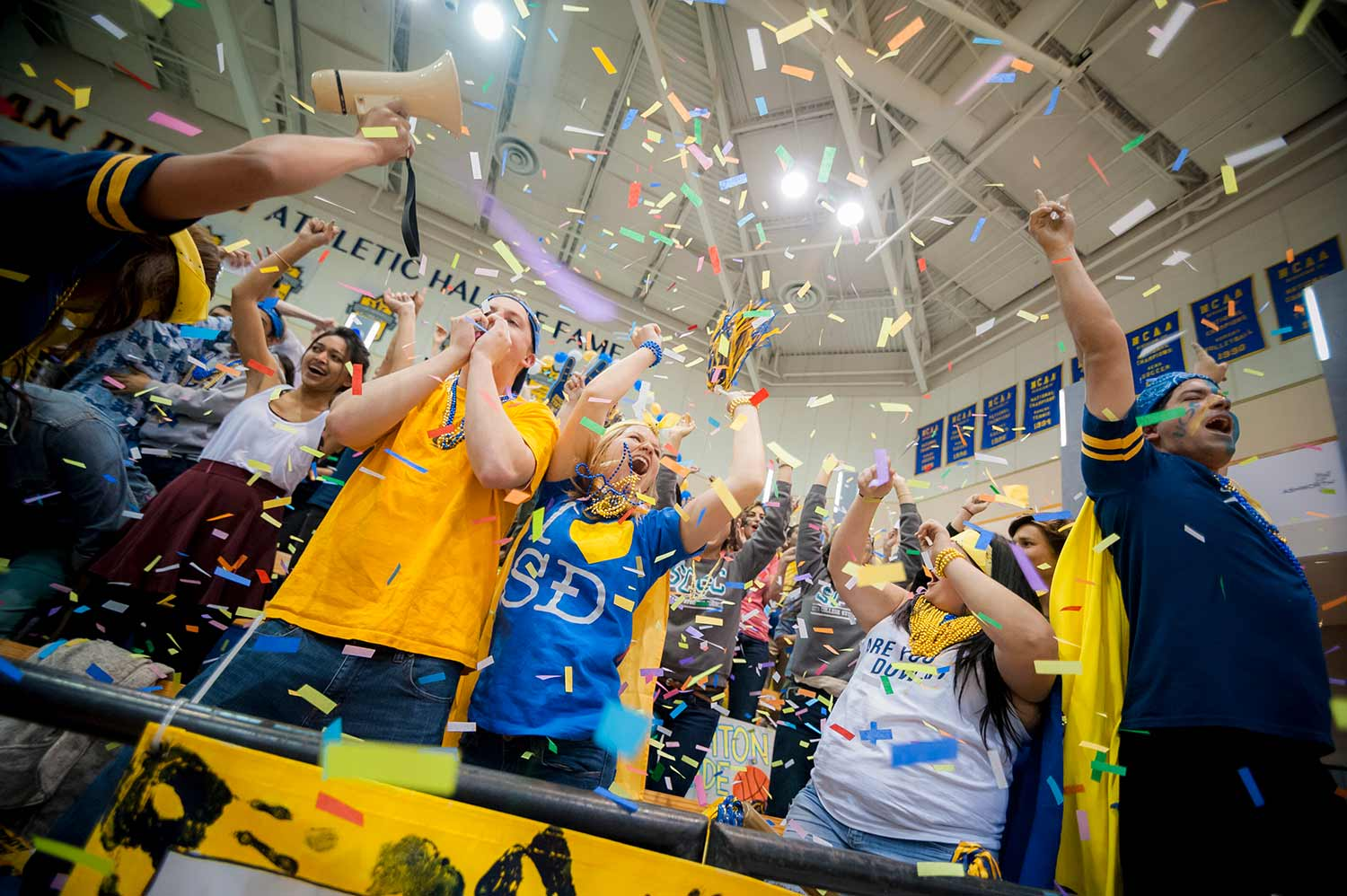 Celebrating Division 1 move at UC San Diego Spirit Night