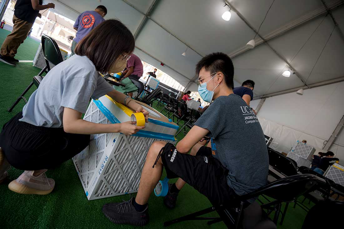 students, faculty and staff came together to build 250 DIY air filters.
