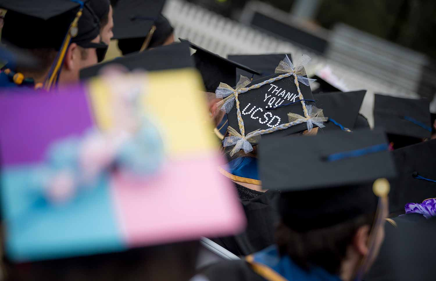 mortar board at graduation.