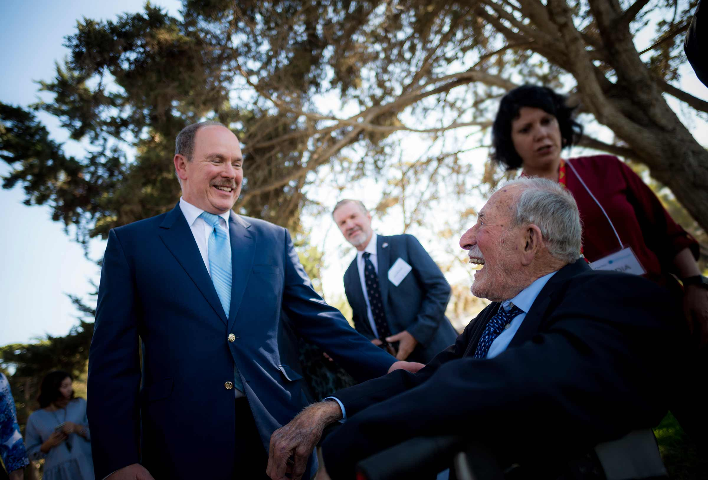 Walter Munk and His Serene Highness Prince Albert II at UC San Diego