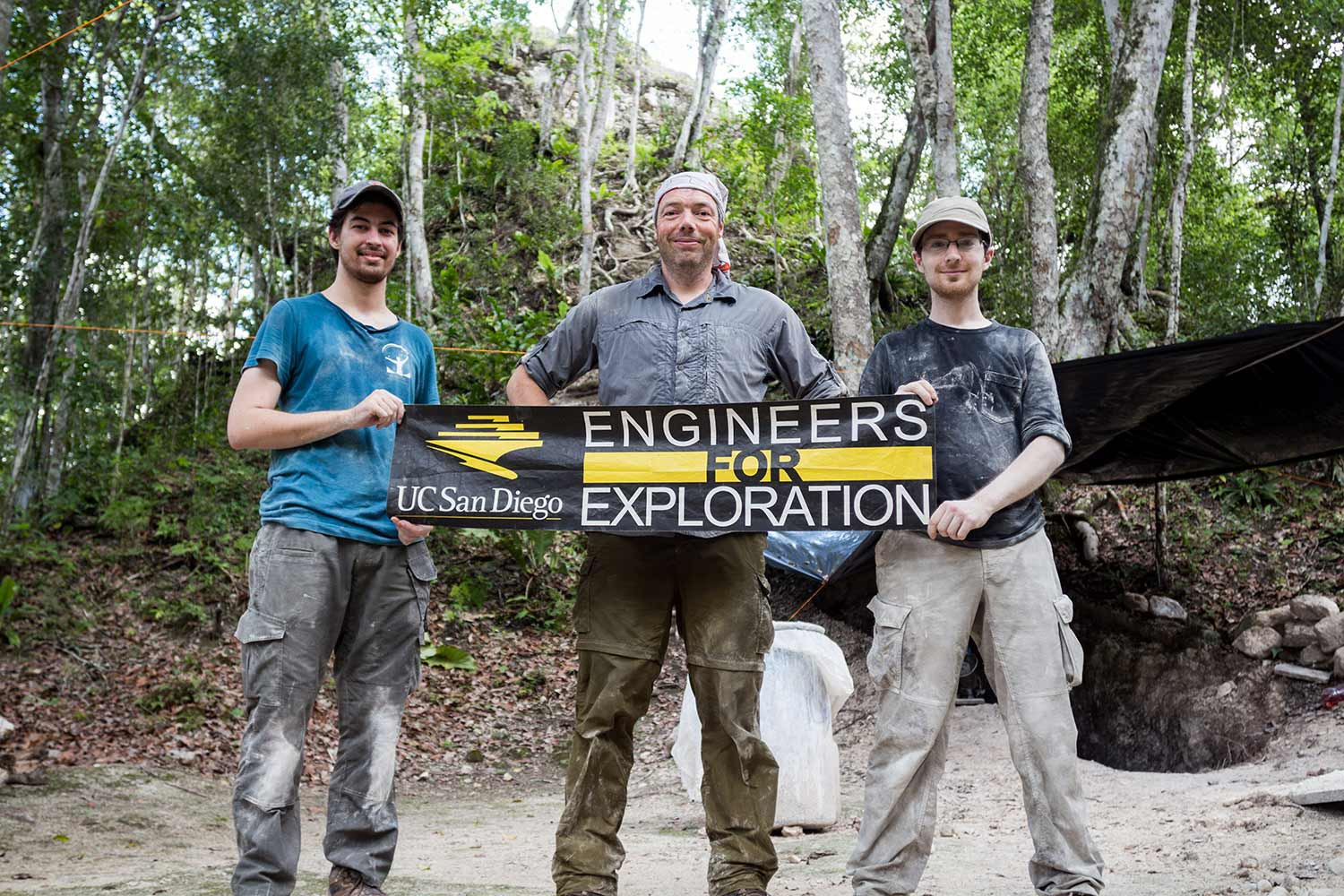 Engineers for Exploration holding a banner