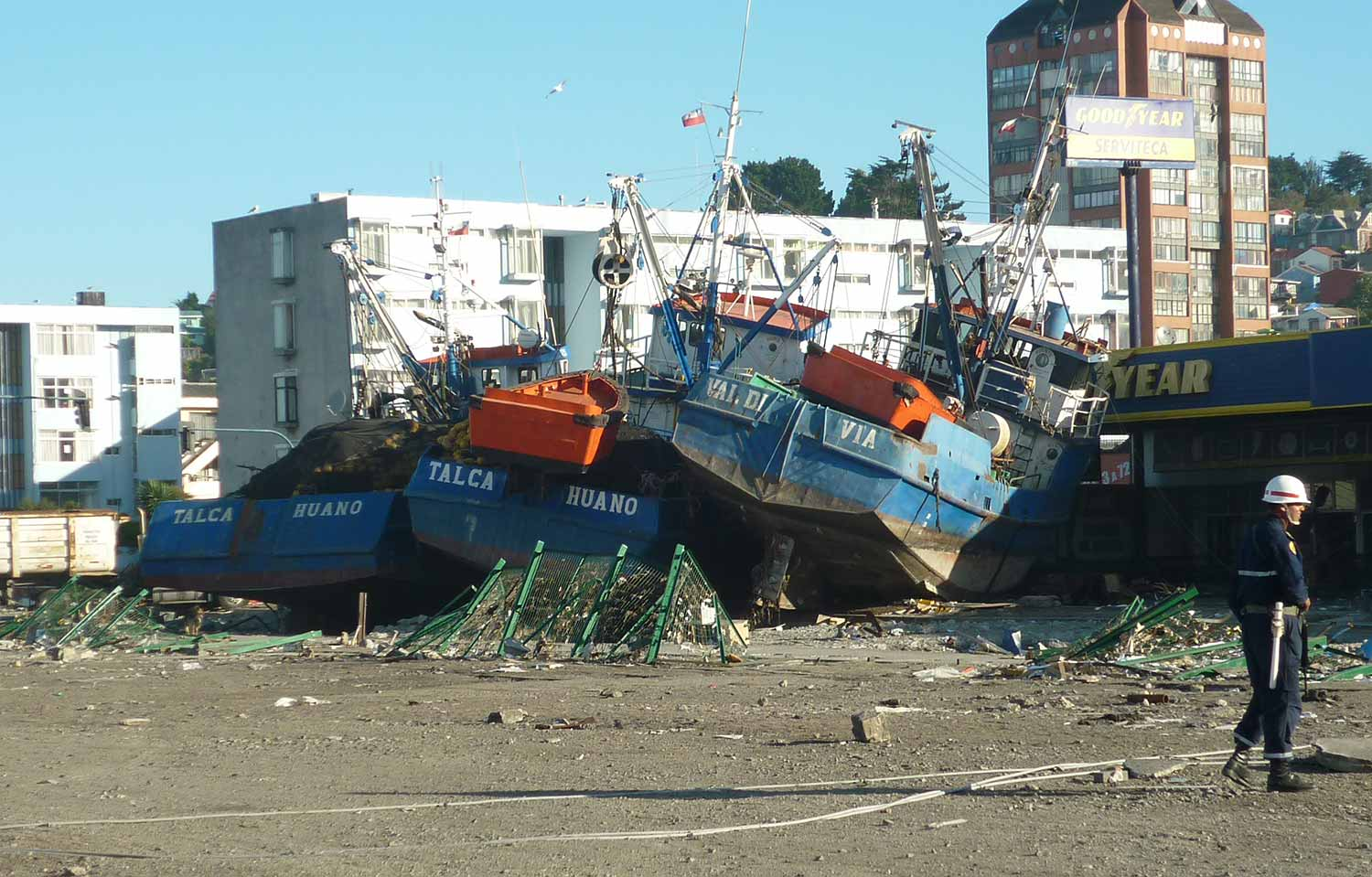 Tsunami aftermath in Talcahunao, Chile.