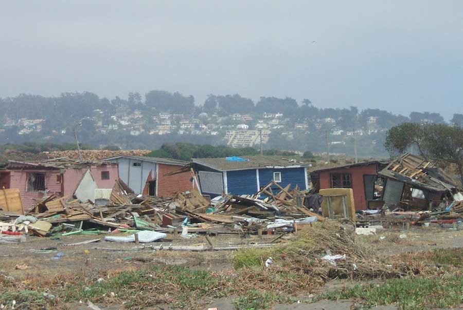 tsunami's destruction in Llolleo Chile.