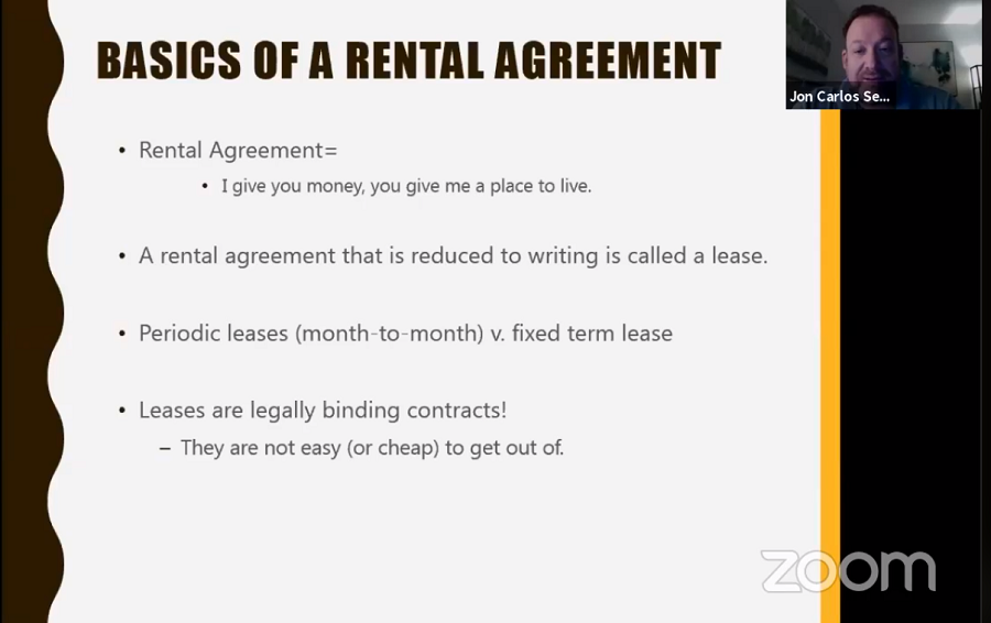 Jon Carlos Senour on Zoom discussing the basics of rental agreements