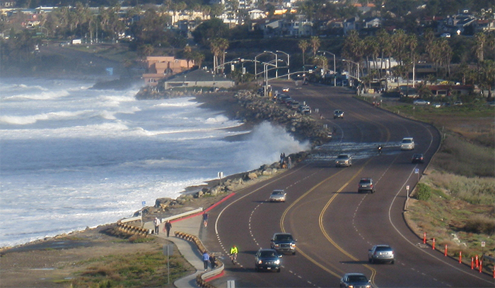 Image: Waves reach Highway 101 north of Solana Beach, Calif. in 2010.