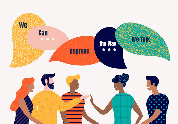 Illustration of people saying we can improve the way we talk in speech bubbles.