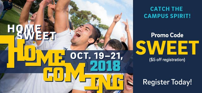 Homecoming Oct. 19-21, Promo Code SWEET, $5 off registration, Register Today