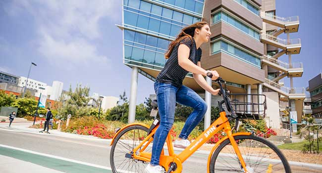 bicyclist on UCSD campus