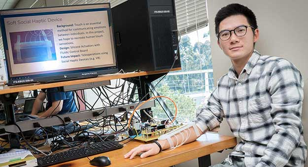 student in haptic interface class