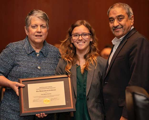Enid Partika with UC President and UCSD Chancellor