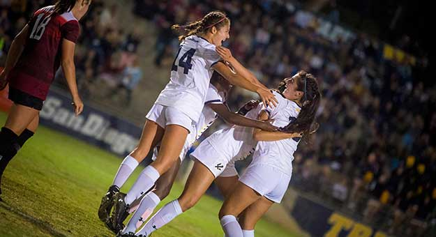 Tritons womens soccer celebrates