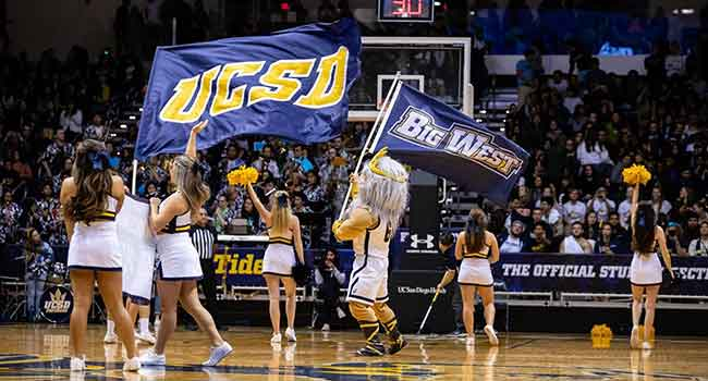 cheerleaders at UCSD basketball game