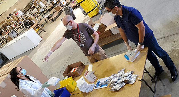 workers separating packages