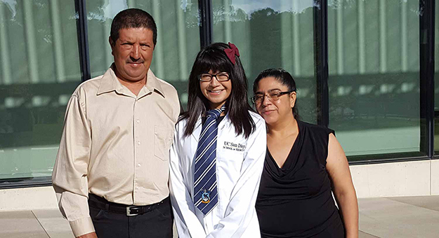 UCSD student Patino with her parents