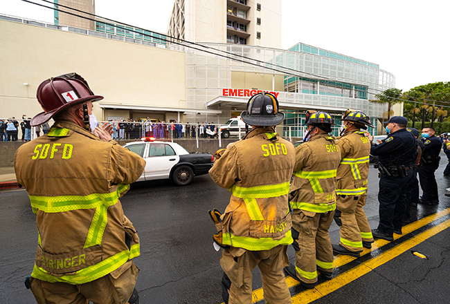 san diego firefighters and police outside hospital