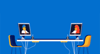 Illustration of desk with monitors
