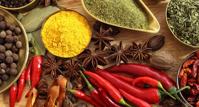 assortment of exotic spices