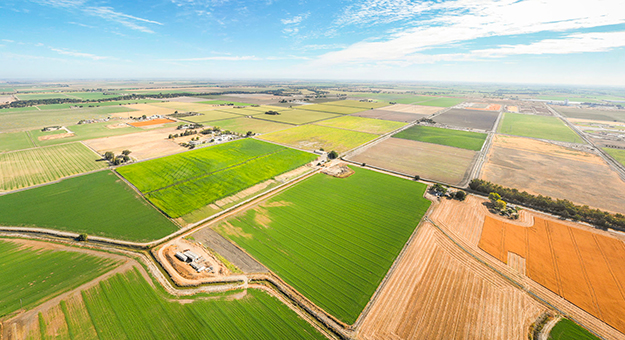 aerial view of farm land.