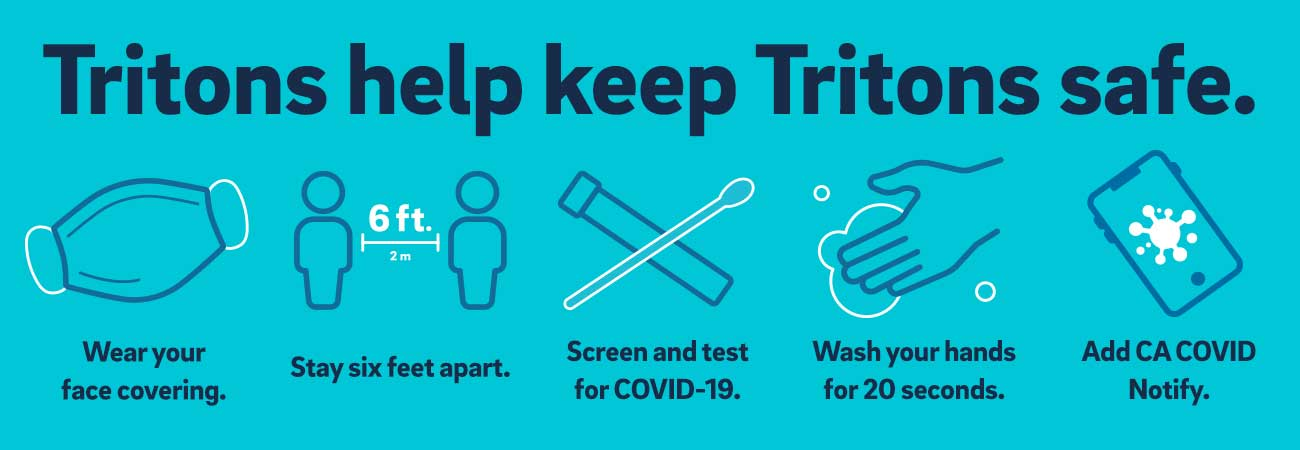 Wear a mask, physical distance, test for COVID19, wash hands, add California COVID notify.