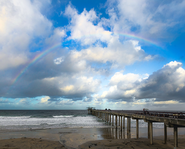 Rainbow over Scripps Pier.