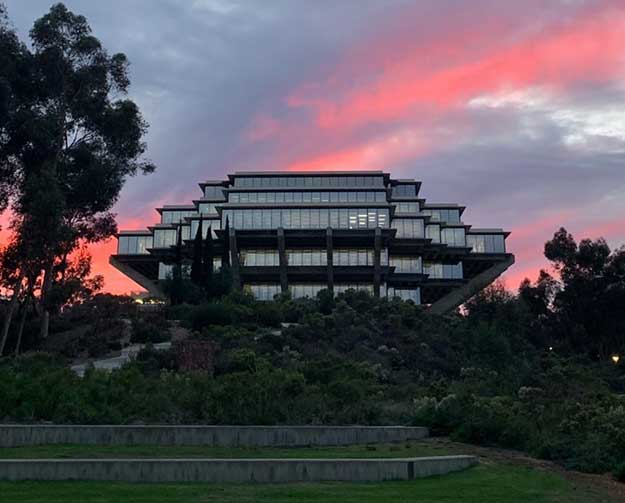 Sunset over Geisel Library.