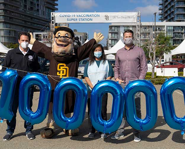 100,000 plus people vaccinated at Petco park Super Station.