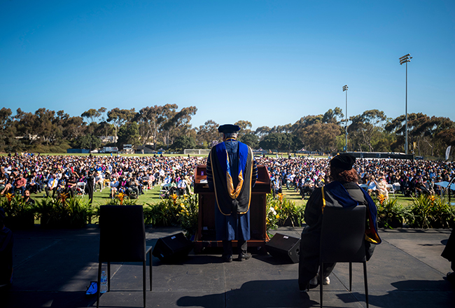 chancellor Khosla speaking at Commencement 2021.